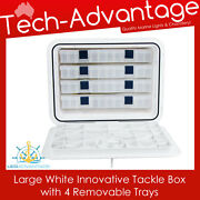 435mm X 335mm Boat White Large White Innovative Tackle Storage Box + 4 Trays
