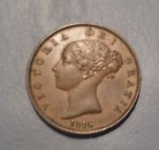 Great Britain Uk Coin 1/2 Penny 1856 Xf+