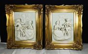 Pair Of Antique Meissen Porcelain Plaques Of A Colonial Couple In Bold Relief