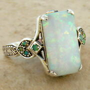 Lab Opal Antique Victorian Style .925 Sterling Silver Ring Size 9,     462