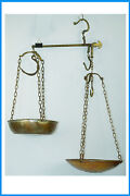 Antique Steelyard Balance Beam Brass Copper Hanging Scale With 2 Pans And Arm