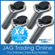 4 X 316 Marine Grade Stainless Steel 30anddeg Angled Boat Fishing Rod Holders And Caps