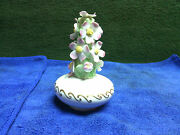 Vintage 3d White With Pink Flowers And Gold Trim Perfume Bottle Atomizer.works