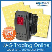 Labels And 1x Red Led Rocker Switch Carling/narva/arb-style-4x4/truck/boat 12v24v