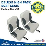 2 Deluxe High Back Folding Marine Boat Seats- Grey - Charcoal Gray