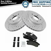 Front Performance Drilled And Slotted Brake Rotor And Posi Metallic Pad Set
