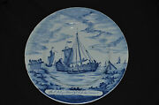 Antique Museum Quality 1760' Delft Ceramic Pottery Cabinet Plate Old Dutch Ship
