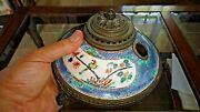 Rare Antique Chinoiserie Chantilly Porcelain And Ormolu Inkwell Bronze Roses Legs
