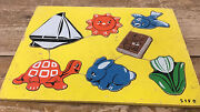 Wooden Wood Puzzle Sifo Vintage Yellow Tray 1960's Sailboat Turtle Sun Book Bird
