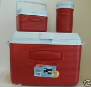 Rubbermaid 48 Quart Victory Cooler Ice Chest 3 Piece Value Pack Red