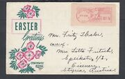 Usa 1950 Easter Greetings Advertising Cover Decatur Illinois Meter To Austria
