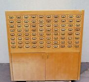Vintage Custom Made Solid Wood Cabinets 80 Drawers 59x22x59 Library Slides Rare