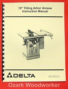 Delta-rockwell 10 Tilting Arbor Unisaw Instructions And Parts Manual 0244