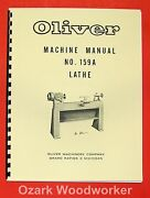 Oliver 1960and039s 159-a 12 Wood Lathe Operator And Parts Manual 159a 0975