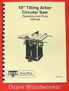Delta-rockwell 10 Older Tilting Arbor Unisaw Operating And Parts Manual 0228