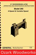 General Model 260 12″ Variable Speed Wood Lathe Operating And Parts Manual 1172