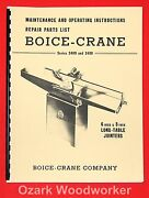 Boice Crane 2400 And 3400 6 And 8 Inch Jointer Instructions Part Manual 0993