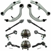 12 Piece Steering And Suspension Kit Control Arms Wheel Bearings Tie Rods End Link
