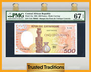 Tt Pk 14a 1985 Central African Republic 500 Francs Pmg 67 Epq Finest One Known
