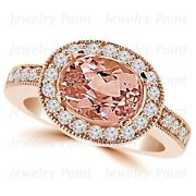 Oval Peach Pink Morganite Diamond Halo East-west Engagement Ring 14k Rose Gold