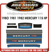 1980 1981 1982 Mercury 115 Hp Outboard Decals Reproductions Stickers 90 140 Hp