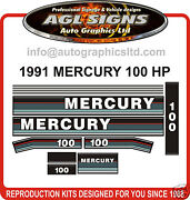 1991 1992 1993 Mercury 100 Hp Replacement Outboard Decal Set 115 Hp