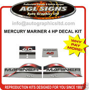 Mercury Mariner 4 Hp Decals 4.0 Merc Outboard Reproduction