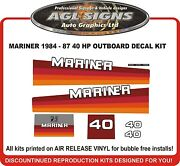 1984 1985 1986 1987 Mercury Mariner 40 Hp Reproduction Outboard Decal Kit
