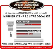 Mercury Mariner 175 Hp 2.5 Litre Outboard Decal Kit Reproductions