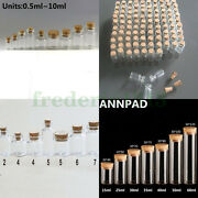 Wholesale Lots Small Clear Glass Bottles 0.5ml--60ml Empty Vials With Cork