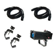 American Dj Fs600led 60 Watt Led Pro Follow Spot W/ 2 15and039 Dmx Cable And C-clamps