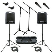 Peavey Escort 3000 Mixer 7ch Portable 300w Speaker System W/ Mics Stands Cables