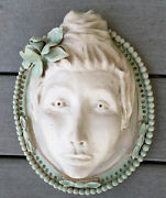 "Lady Head Wall Hanging 3D Mask Ceramic Clay Handmade Sculpture 11""+"