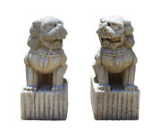 Chinese Pair Distressed Brown White Marble Stone Fengshui Foo Dog Statues Cs2868