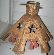 Antique Iron Lg Shapely Xmas Tree Stand Old Mustard Paint W/red Paint Bowsandstars