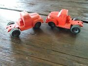 Vintage 2 Auburn Rubber Toy Red Semi Tractor Truck Cabs