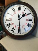 Huge Ger Br Railway Station Fusee Clock British 24 Dial Antique Project
