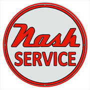 Format Metal Sign Nash Service Station Motor Oil 24x24 Round Reproduction