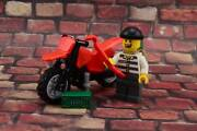 Lego Mini Figure City Jail Prisoner With Motorcycle From Set 3661