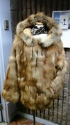 Red Fox Pullover Womens Fur Jacket With Hood Size 12-14