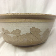 """WIZARD OF CLAY ART POTTERY BRISTOLEAF 8 1/2"""" ROUND BOWL BROWN LEAVES"""