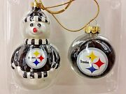 Nfl Pittsburgh Steelers Blown Glass Snowman And Ball Ornaments Set Of 2 New