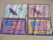 Lot Of 4 Antique Tobacco Felts, American Flags, Butterflies