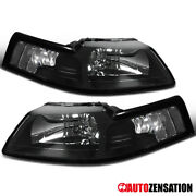 For 1999-2004 Ford Mustang Black Headlights Lamps Replacement Left And Right 99-04