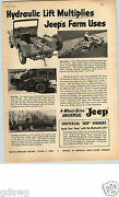 1952 Paper Ad Jeep Farm Universal Hydraulic Lift 4 Wheel Drive Willys Overland
