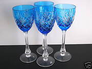 4 Faberge Odessa Ed1 Azure Lt Blue Cased Cut To Clear 8 3/8 Wine Goblets Signed