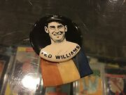 1950and039s Ted Williams Boston Red Sox Pm10 Baseball Stadium Pin Pinback Button