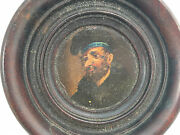 Antique European Painting Self Portrait 1880and039s Wooden Round Frame Man Beret Help