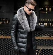 Mens Fox Fur Collar Pu Leather Winter Coat 90 Duck Down Jackets Thicken Outwear