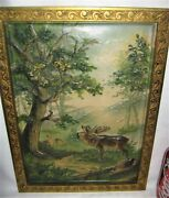 Antique Bradley Hubbard Usa Cast Iron Elk And Deer Forest Art Oil Painting Plaque